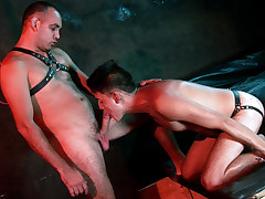 Trussed in a ultra-cute bundle twink gimp gets used orally