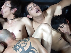 Freaky dads have fun fuckin' nasty gangbang twunks